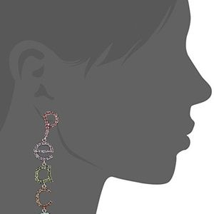 BCBGENERATION PAVE PEACE LINEAR EARRINGS